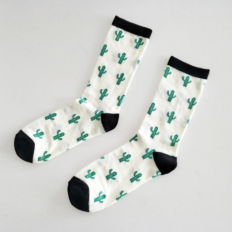 Cartoon Cactus Print Socks Women Cotton Cute Fun Soft Comfrot Fashion Casual Autumn Winter Breathable Absorb Sweat Lovers Sock