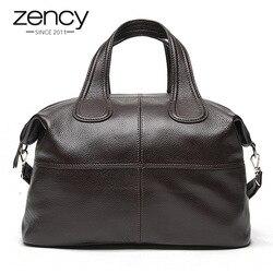 Zency 100% женская сумка из натуральной кожи кофейного цвета, женские сумки-тоут, классические черные сумки-мессенджеры через плечо, сумка через...