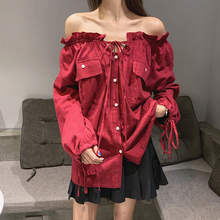 vintage off shoulder blouses womens streetwear ruffles ladies tops and plus size red white shirts chemisier femme