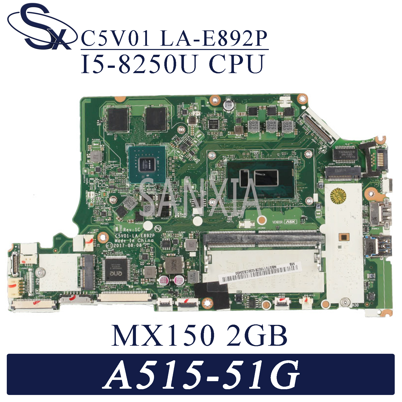 KEFU LA-E892P <font><b>Laptop</b></font> motherboard for Acer A515-51G A615-51G original mainboard Onboard 4GB-RAM I5-8250U <font><b>MX150</b></font>-2GB image