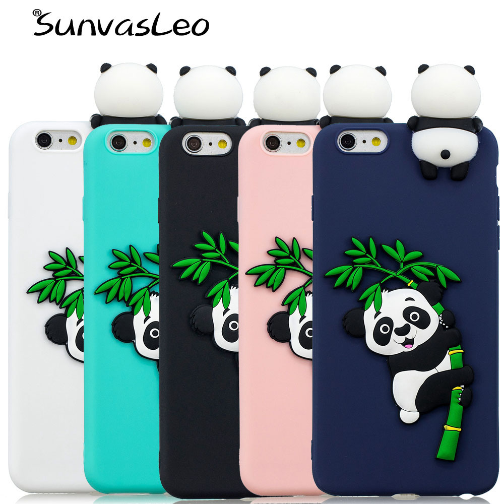 For iPhone 7 7Plus Case Cover 3D Soft Silicone Cute Cartoon Panda Smart Phone Shell Skin Cases For iPhone 8 8Plus Fundas Capa