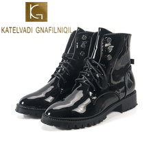 KATELVADI Women Boots Patent PU Leather Outdoor Shoes Motorcycle Street Style Girls Ankle Lacing K-516