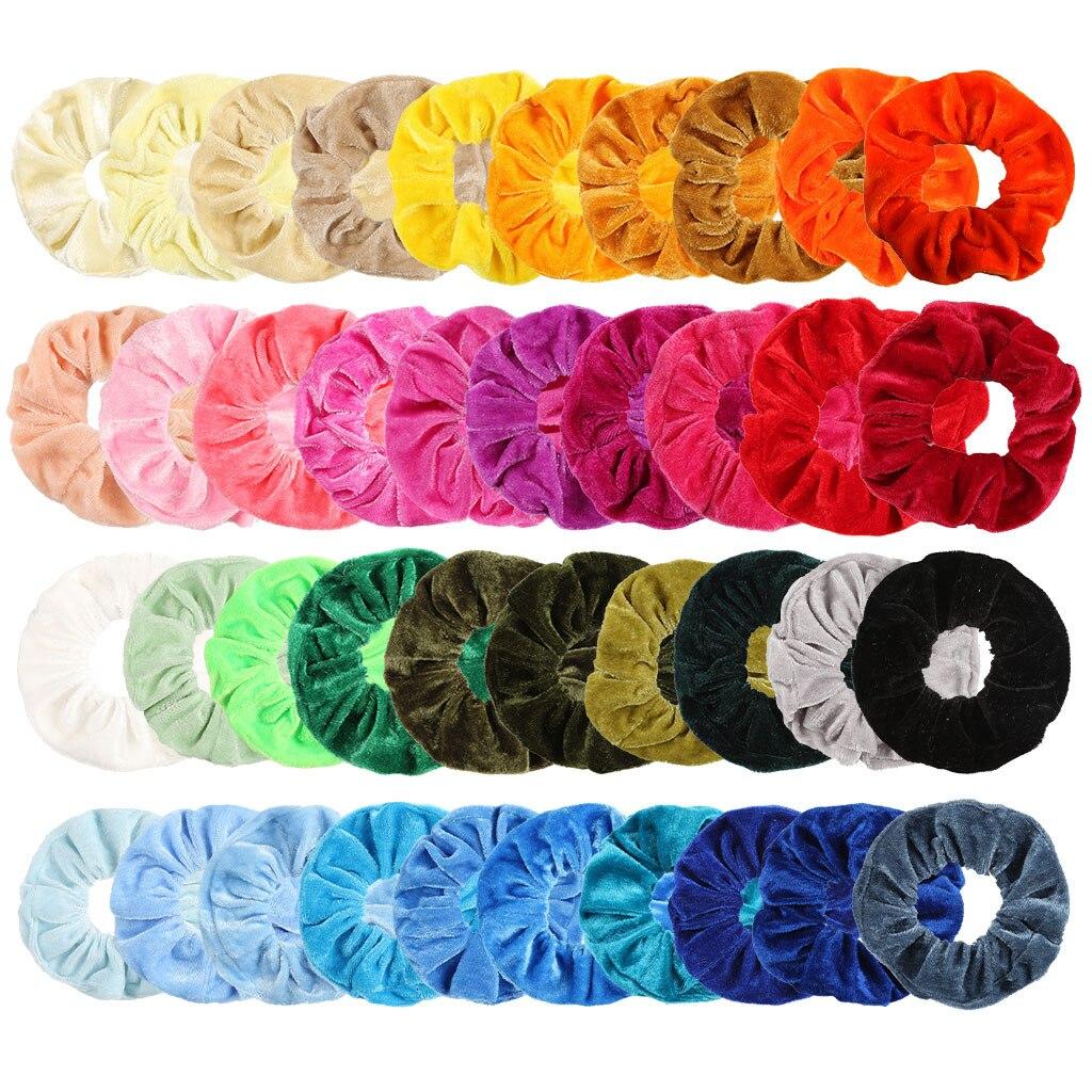 40Pcs/set Velvet Elastic Scrunchie Gradient Hair Bands For Women Girl Hair Accessories Whoelsale