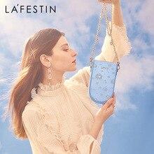 Female Bag Chain-Bag Mobile-Phone-Bag Shoulder Messenger Blue Embroidery Silk Smog Tide