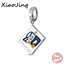 Hot Selling 925 Sterling Silver Antique Beads Passport Enamel charm Fit Authentic Pandora Bracelet Making Jewelry For Women Gift