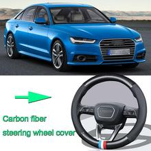 High Quality Car Non-slip black carbon fiber leather car steering wheel cover for Audi A6