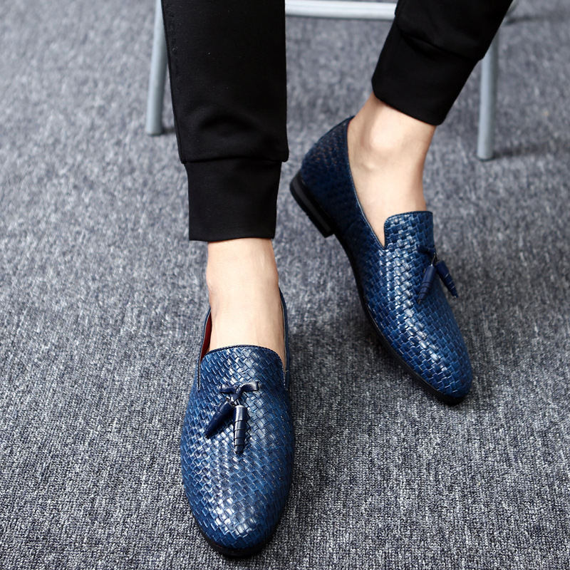 Spring And Autumn Braided Men's Shoes British Tassel Single Shoes Foreign Trade Increased Size Leather Shoes 2019