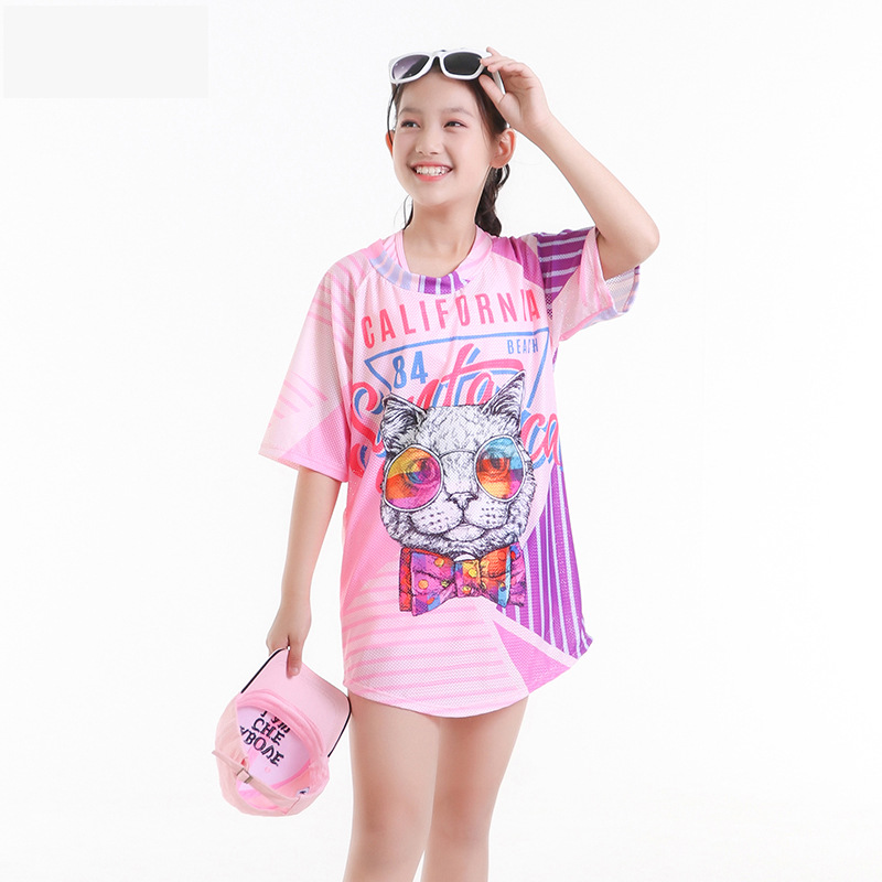2019 New Style Hot Sales CHILDREN'S Swimwear Split Bikini Cover-up Sun-resistant Cartoon Athletic Hot Springs GIRL'S Swimsuit