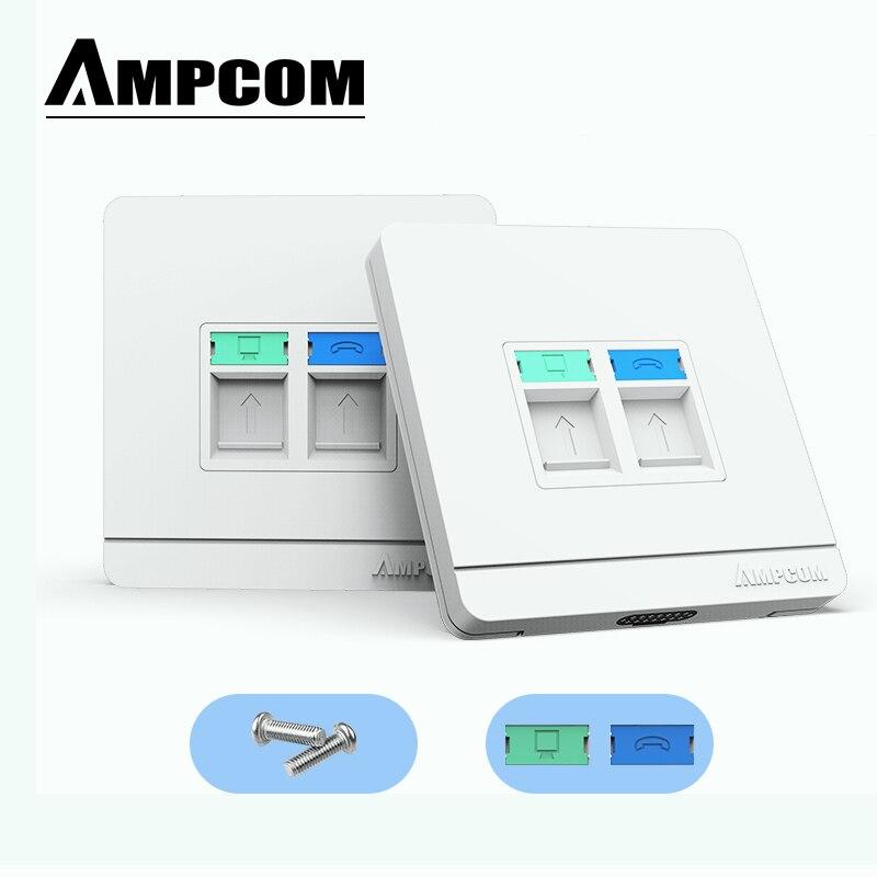 AMPCOM RJ11 RJ45 Faceplate Wall Socket Wallplate Face Plate 1-Port 2-Port 4-Port Networking Telephone Socket Outlet Mount Panel