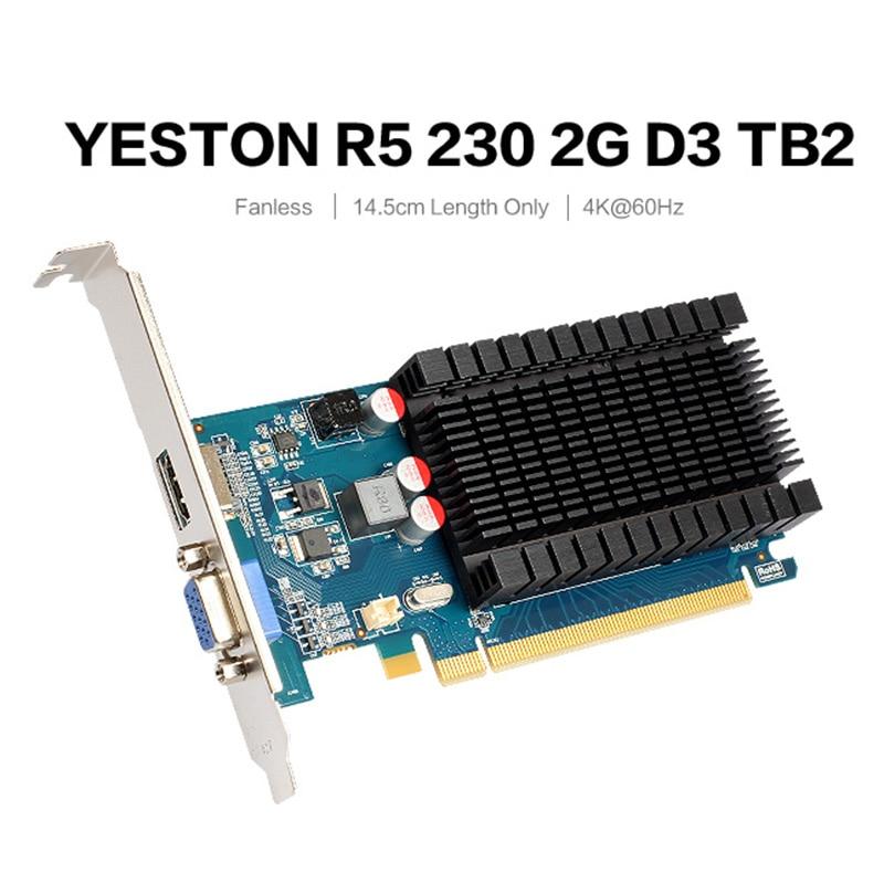 Игровая видеокарта Yeston R5 230-2G D3 2 Гб 64 бит GDDR3 625 МГц 1200 МГц для ПК