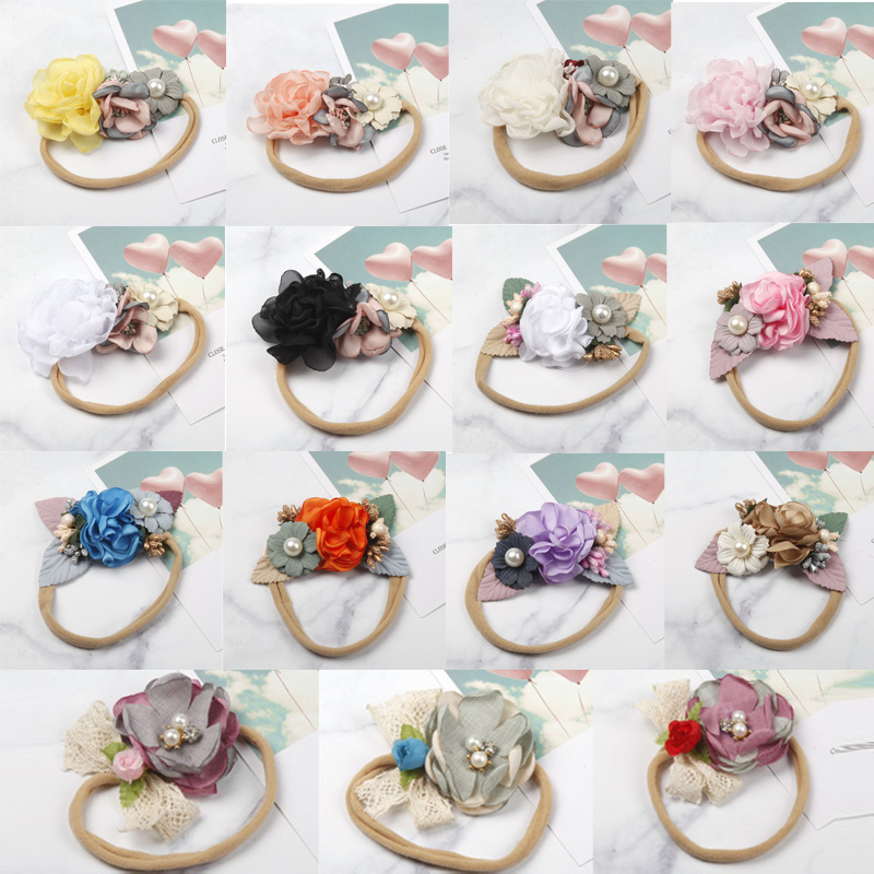 Balleenshiny Fashion Flower Baby Headband Super Soft Nylon Infant Baby Hair Band Baby Girl Hair Accessories Photography Props
