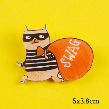 Cartoon Thief Cat Pin Brooch Badge Personality Lapel Pin Accessories Clothes Bag Hat Jewelry Gift For Friend image