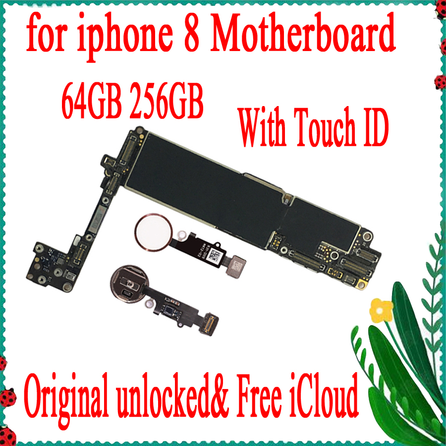 Galleria fotografica Factory Unlocke Original unlocked for iPhone 8 4.7inch motherboard with / without Touch ID Motherboard for iphone 8 64gb / 256gb