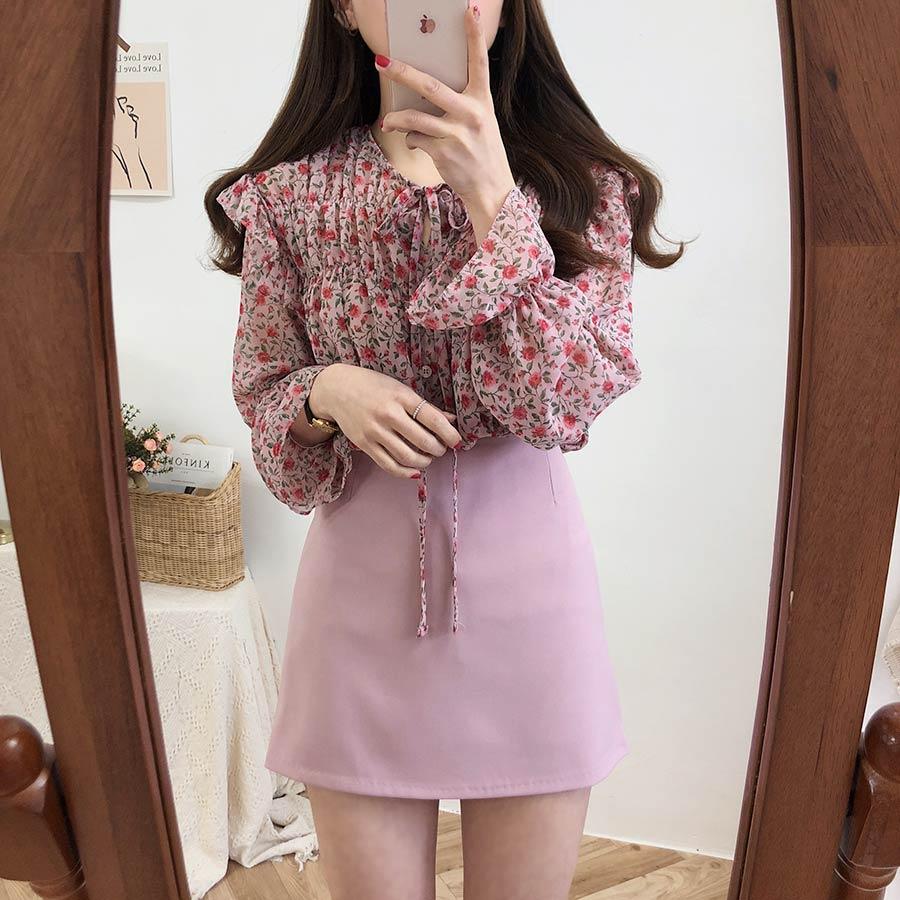 H4176cd8d7cb542589f782413d20b5419H - Spring / Autumn Lace-Up Collar Long Sleeves Floral Print Blouse