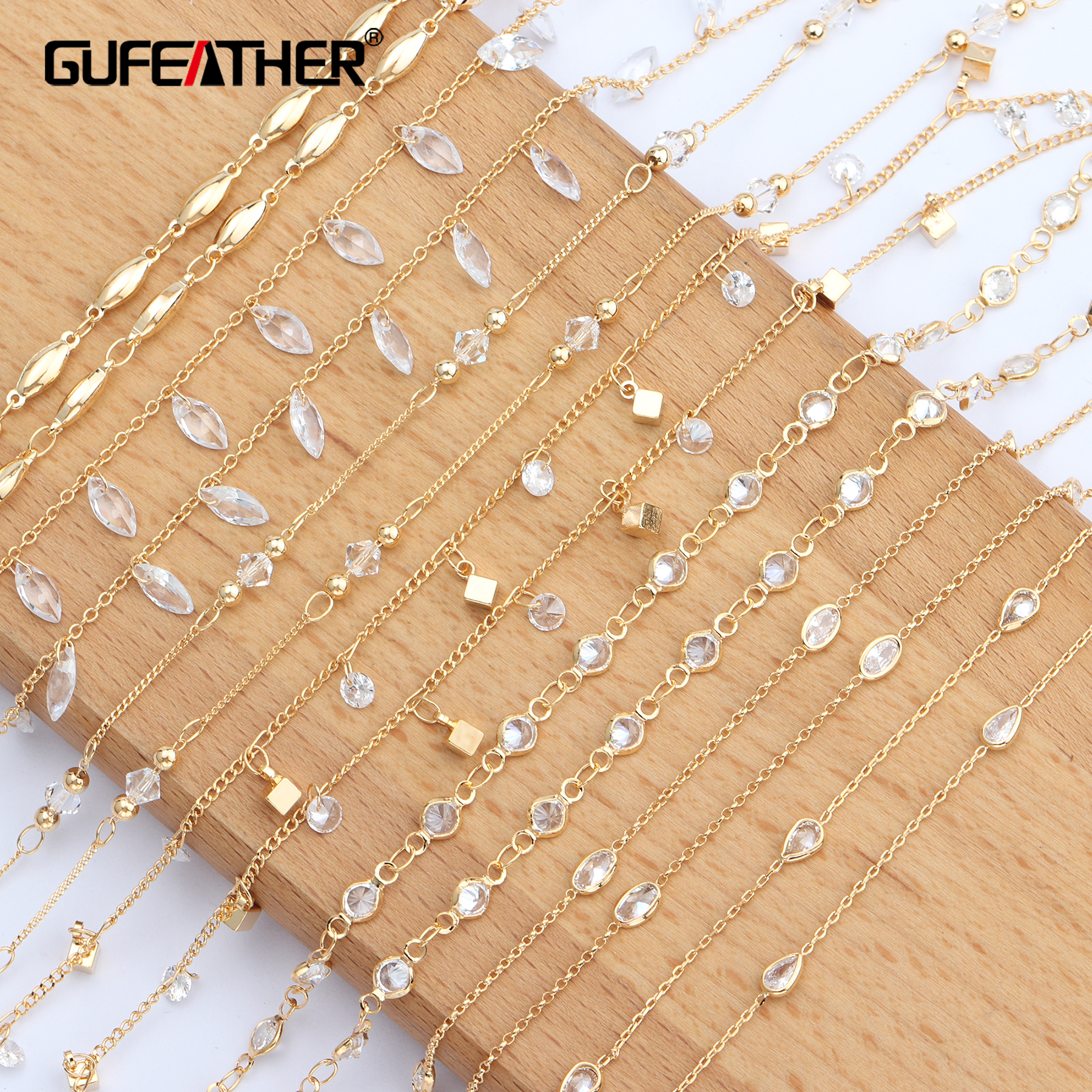 GUFEATHER C62,jewelry Accessories,18k Gold Plated,copper Chain,environmental Protection,diy Chain Necklace,jewelry Making,1m/lot