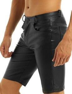 Image 5 - Iiniim pantalones cortos bóxer de piel para hombre, negros, con bolsillos y cierre de cremallera, ropa de fiesta para discoteca