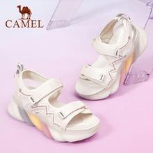 CAMEL platforma sandały na płaskim obcasie kobiety dorywczo gruby wysoki obcas kobiet buty wygodne modne buty damskie 2021 lato nowy