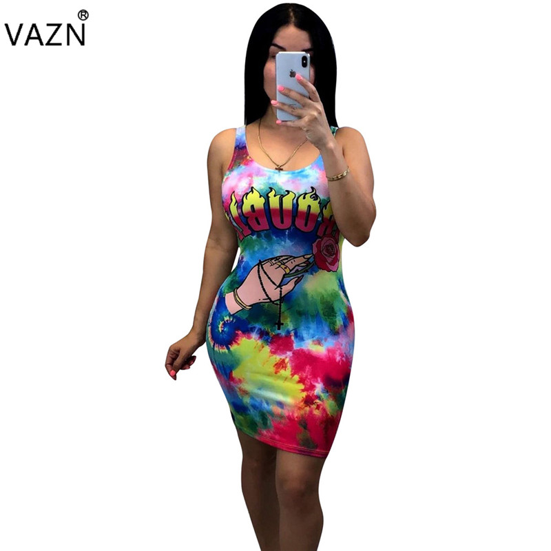 VAZN OX8052 Summer Age Reduction Hot Sexy Joker Untidy Fashion letter Round Neck Short Sleeve High Waist Women Thin Mini Dress image