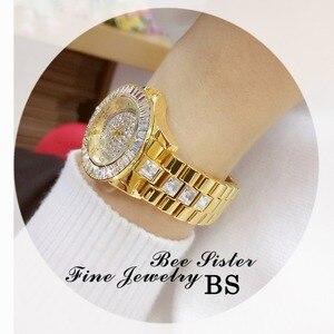 Image 5 - Moda izle bayanlar quartz saat elmas kristal lüks kadın taklidi saatler kadın Relojes Para Mujer Horloges Vrouwen
