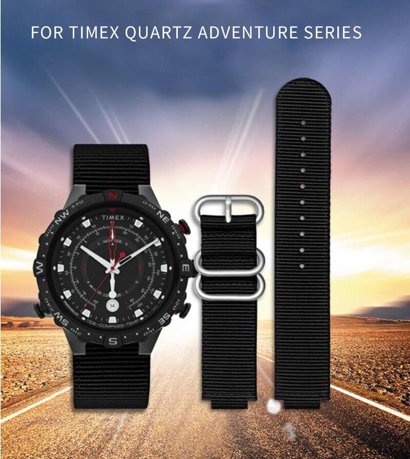shengmeirui for TIMEX Quartz Adventure Series T2N720 T2N721 TW2R55500 T2N721 Nylon outdoor sports watch belt 24*16mm