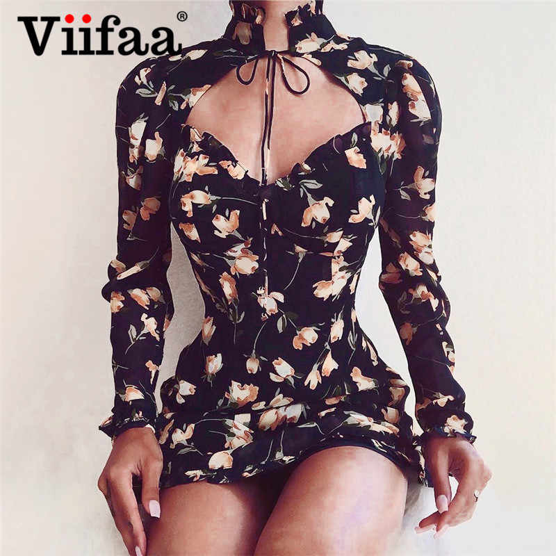 Viifaa Frilled Tie Neck Glamorous Floral Print Women Vacation Dress 2019 Long Sleeve Sexy Ladies Summer Mini Dresses