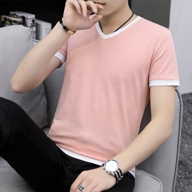 Летняя мужская футболка с коротким рукавом с v образным вырезом  han edition, половина рукава для фиксации тела, летняя мужская  одеждаФутболки