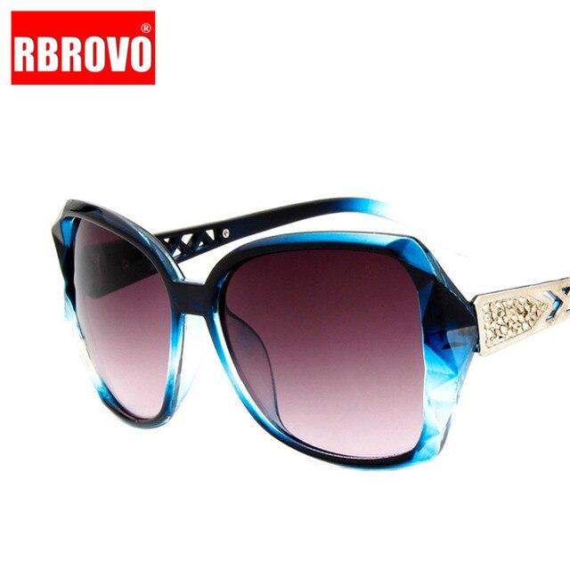 RBROVO-gafas De Sol con montura grande para mujer, anteojos De Sol femeninos con gradiente Vintage De diseñador De marca, gafas para ir De compras, UV400, De viaje, 2021 2