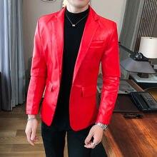 Autumn Winter 2020 Men Leather Suit Korean Slim Jacket Blazer Masculino Slim Fit Mens Stylish Blazer Chaquetas Hombre De Vestir