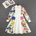Xiaomolinvzhuang senhoras elegante floral impressão camisa vestido fino manga longa inverno 2019 nova moda feminina wear