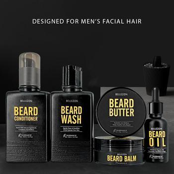 Blue ZOO 8Pcs/set Men Beard Care Kit Beard Shaving Cream Aftershave Cleaning Care Nourishing Shaping Male Beard Care Set 2