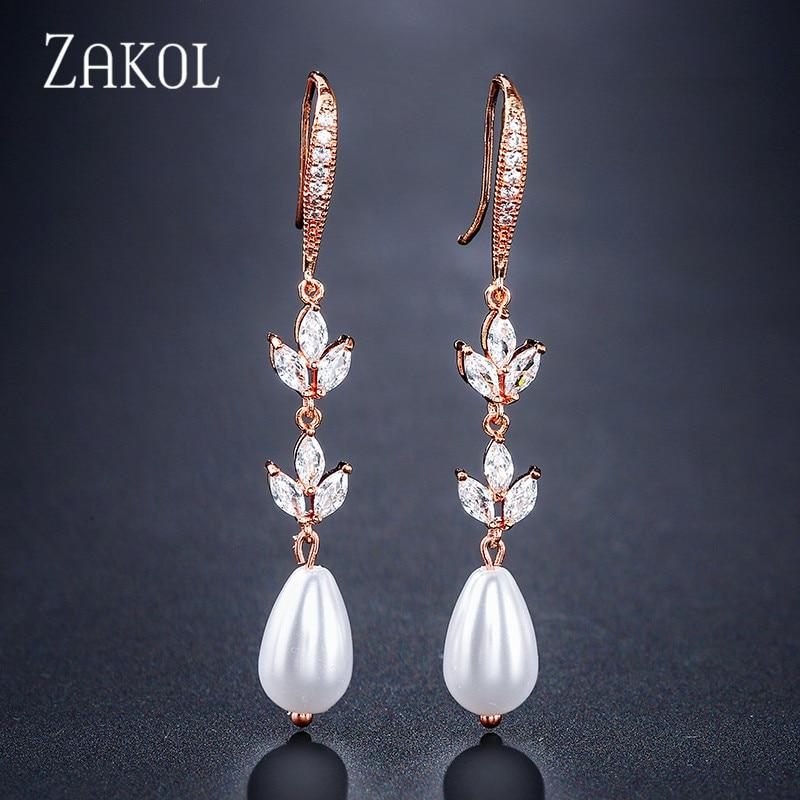 ZAKOL, Свадебная вечеринка, классические серьги-подвески с жемчугом в виде капли воды для женщин, модель f2400