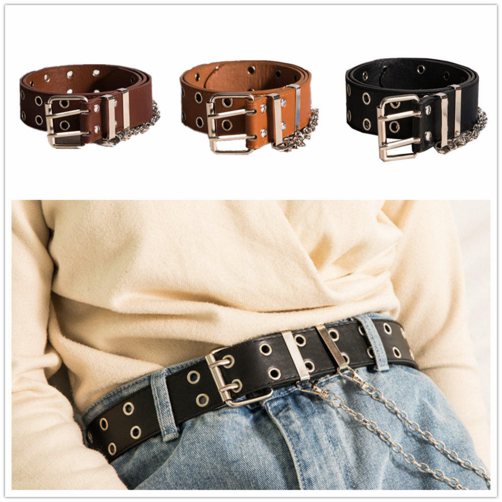 Women Fashion Punk Chain Belt Imitation Leather Pin Buckle Individual Decorative Belt Double Row Hole Belt For Jeans Pants