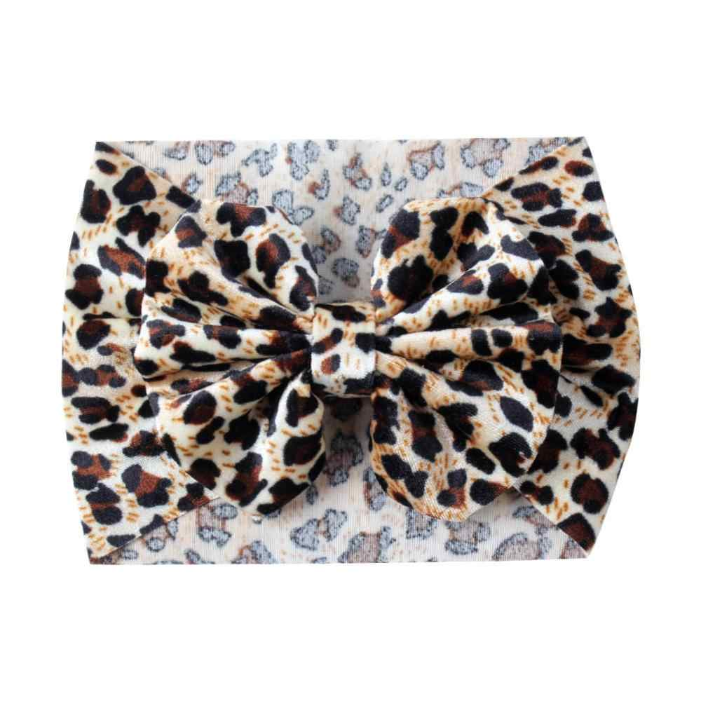Leopard Bow Hair Elastic Headbands Girls 5'' Big Hair Hairband For Baby Print Glitter Hair Bands Hair Accessories