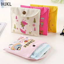 цены Girls Diaper Sanitary Napkin Storage Bag Canvas Sanitary Pads Package Bags Coin Purse Jewelry Organizer Credit Card Pouch Case