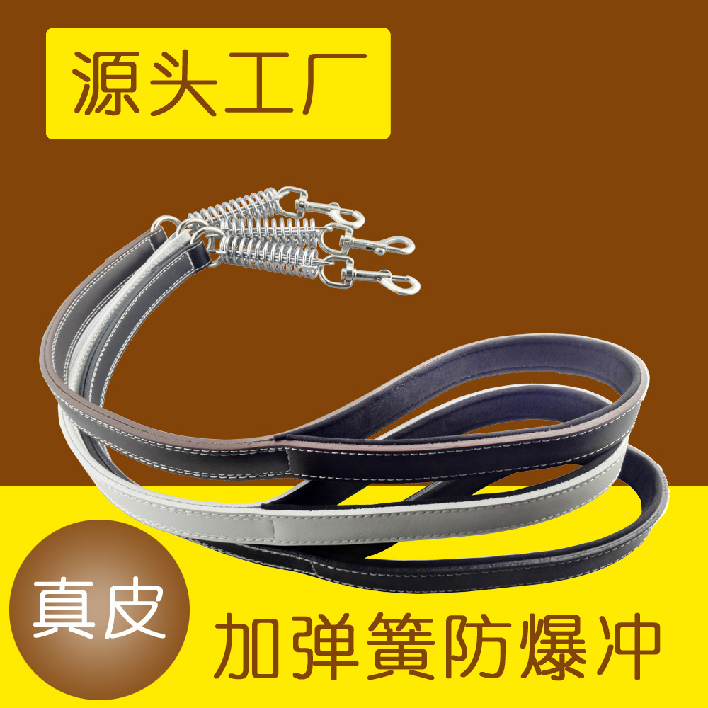 Genuine Leather Proof Punch Spring Pet Traction Rope Large Dog Chain Dog Supplies Traction Belt