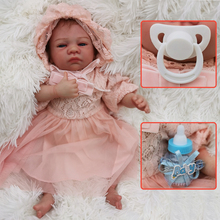 45cm Bebe Reborn Doll Toys with princess dress silicone reborn Baby  Boneca alive boutique doll a hat girls Five-star gift