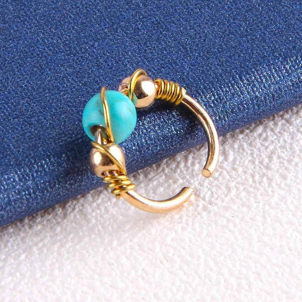 1 шт. серебро золото ретро бирюзовый, Круглый бисер Нос кольцо серьга для носа пирсинг ювелирные изделия 10 мм 12 мм