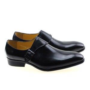 Image 4 - גודל 13 מותג מעצב גברים שמלת נעלי 2020 עור אמיתי אבזם נזיר רצועת גברים של חום שחור משרד המפלגה פורמליות mens נעליים