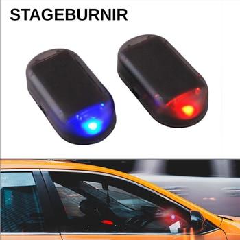 цена на New LED Blinking Car Warning Light Security Anti-theft Alarm System Solar Lamp 5V Blue Red Signal Warning 3M tape Installation