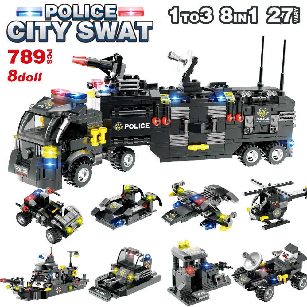 1122 pçs 8in1 swat cidade polícia helicóptero caminhão carro blocos de construção legoinglys cidade polícia estação tijolos brinquedos para meninos crianças