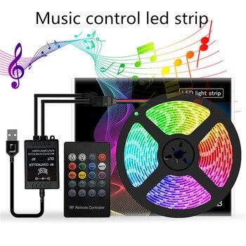 Music LED Strip RGB tape light USB 5V TV Backlight for Party Background Lighting waterproof flexible neon smd 5050 Strips fita