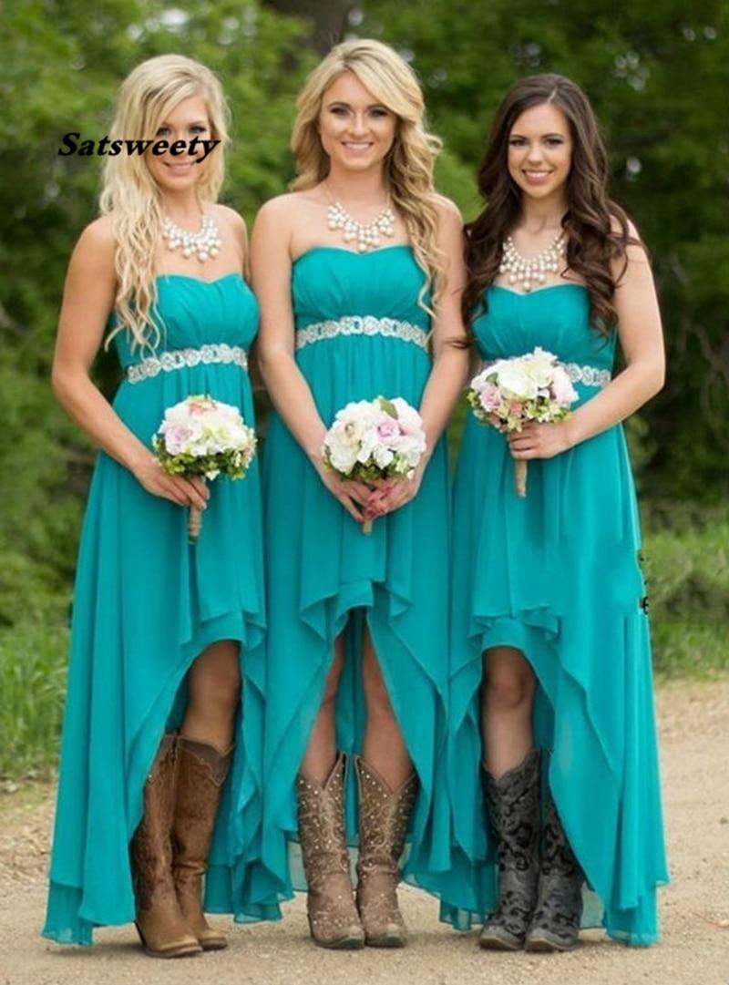 Green Long Bridesmaid Dresses Sleeveless Lace Chiffon Wedding Guest Dress High-Low Chiffon Strapless Beading A-line Gowns