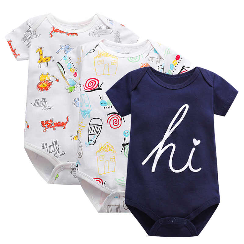 100%Cotton Newborn short sleeve baby bodysuits0-24M Girl Boy clothes overalls neck baby Jumpsuit kids clothing Infant