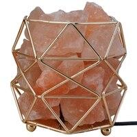 HLZS Polygonal Wrought Iron Salt Lamp Home Health Table Lamp Night Light Salt Lamp Eu Plug