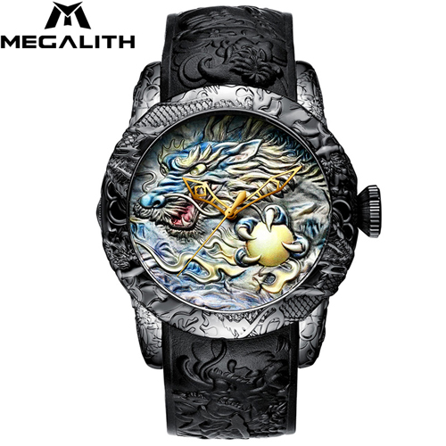 MEGALITH Gold Dragon Sculpture Automatic Mechanical Watches Men Waterproof Silicone Strap Quartz Wristwatch Clock Relojes Hombre