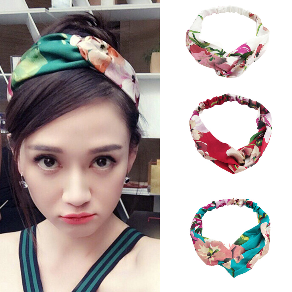New Women Silk Flower Headband Flower Head Wrap Girl Hairbands Floral Print Hair Band Comfortable