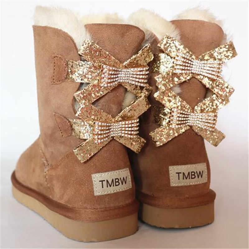 Buty damskie 2018 moda dwa łuki prawdziwa skóra owcza damska zima kobieta śnieg buty do połowy łydki oryginalne kożuchy damskie buty