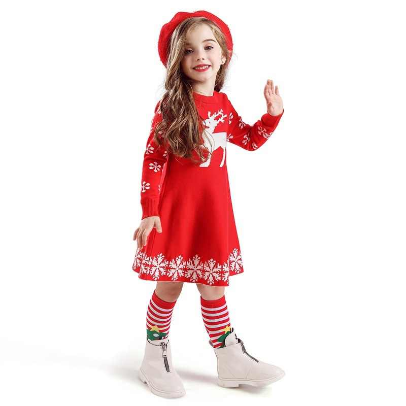 ฤดูใบไม้ร่วงฤดูหนาวหนาเด็กสาวชุด 2-10Y เด็กชุดเดรสเด็กกวางชุดเจ้าหญิงชุดเด็กผู้หญิงคริสต์มาสพิมพ์สัตว์