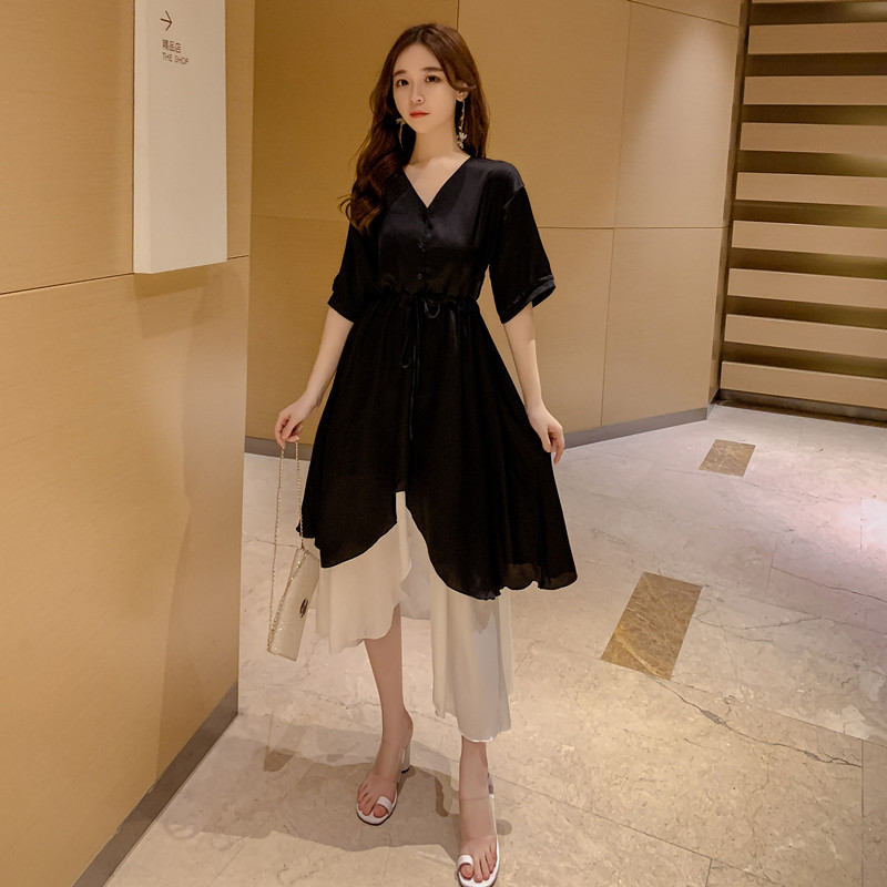 2019 Summer Wear Korean-style Large Size Dress New Style Fat Mm Slimming Loose-Fit Versatile Solid Color Joint Short-sleeve Dres
