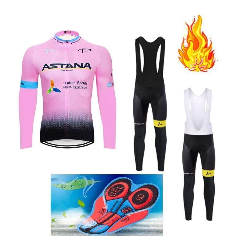 Spor ve Eğlence'ten Bisiklet Takımları'de Astana Ropa ciclismo Sıcak Kış Termal Polar Bisiklet Giyim erkek Forması Takım Elbise Açık Sürme Bisiklet MTB Giyim Önlük pantolon seti title=